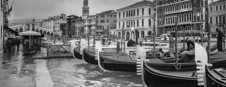 Parking Gondolas at the Grand Canal in Venice