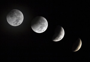 Moon in different stages while in a eclipse