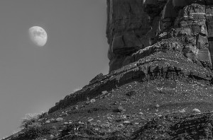 Rising Moon at Monument Valley